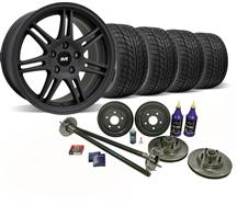 1987-93 Mustang Flat Black SVE 5-Lug Conversion Wheel & Nitto Tire Kit - 17X9